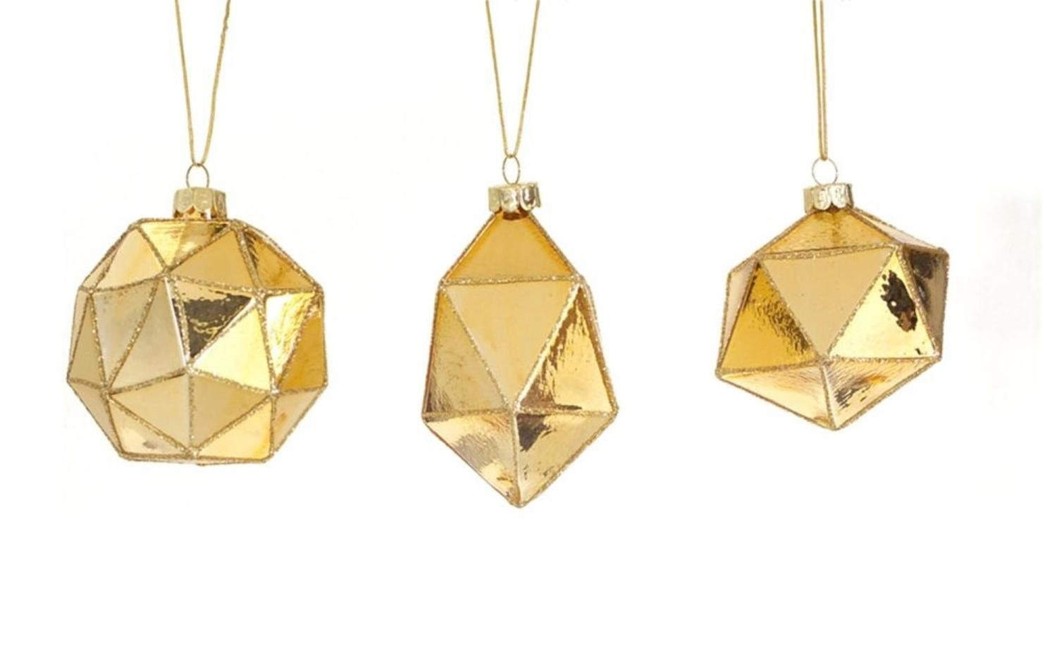 Club Pack of 24 Gold Geometric Shaped Ball, Drop and Onion Christmas Glass Ornament 4''