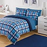 3 Piece Boys Teal Blue White Plaid Comforter King Set, Striped Square Bedding, Crossing Stripes, Squ