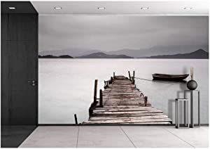 wall26 - Looking Over a Pier and a Boat, Low Saturation - Removable Wall Mural | Self-Adhesive Large Wallpaper - 100x144 inches