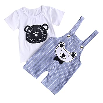 a0ee61fa0c3d Image Unavailable. Image not available for. Color: NUWFOR Kids Baby Girl  Boy Cartton Print Tops T Shirt Overall Striped Pants ...