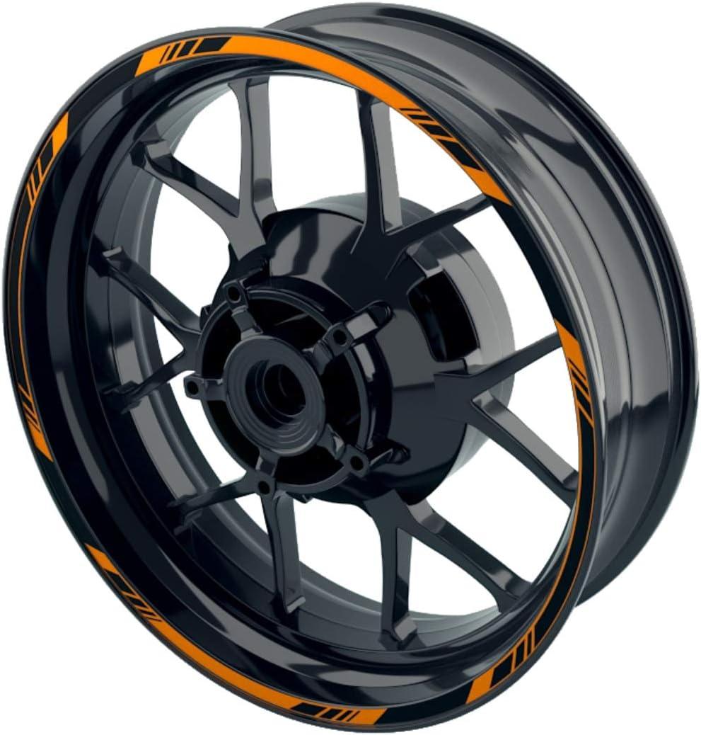 OneWheel Felgenaufkleber Motorrad orange Premium Felgenstreifen Wheelsticker Set f/ür Vorder- /& Hinterrad V1 viele Farben Felgenrandaufkleber