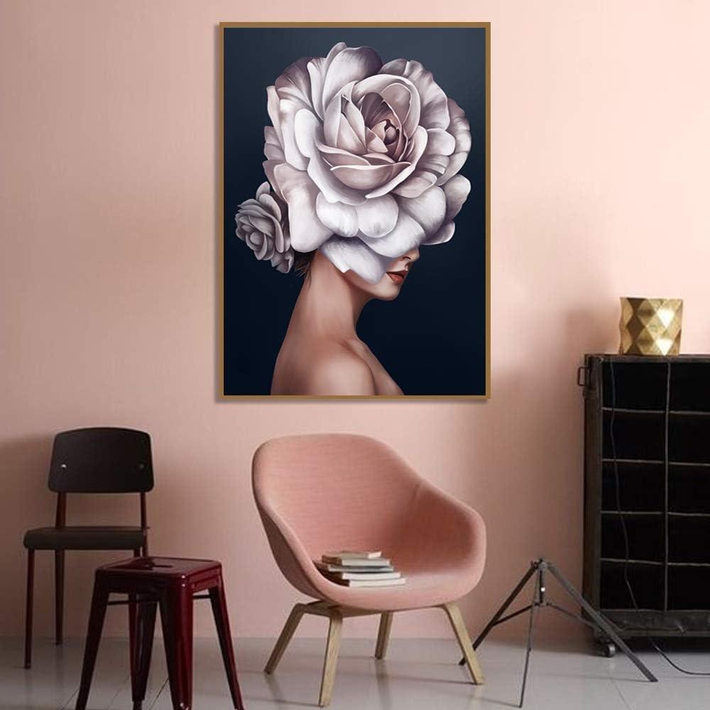 LWJPD Cuadro en Lienzo Flores De Color Rosa Claro Mujer Cartel Nórdico Impresión En Lienzo Pintura Al Óleo Imágenes De Arte De Pared para Sala De Estar Decoración del Hogar 60×80Cm