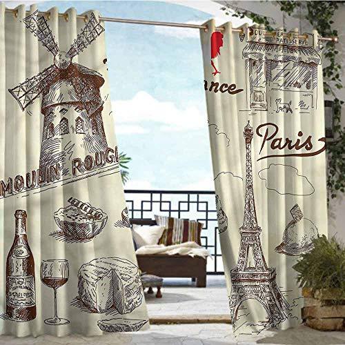 Outdoor Blackout Curtains Eiffel Tower,Patisserie Restaurant,W96 xL96 Silver Grommet Top Drape (Best Japanese Restaurant Soho)
