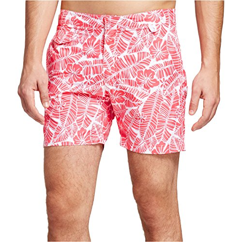 Ibiza Ocean Club Mens Swim Trunks (36, Floral Print Red)