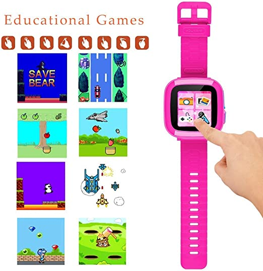 DUIWOIM Kids Game Smartwatch Digital Smart Watches Photo Sticker Camera Mini Games Alarm Clock Timer Health Monitor Pedometer Birthday Gifts for Boys ...
