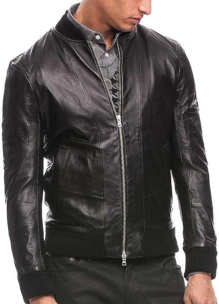 Mens German Naval Cow Hide Leather Pea Coat Biker Jacket C728