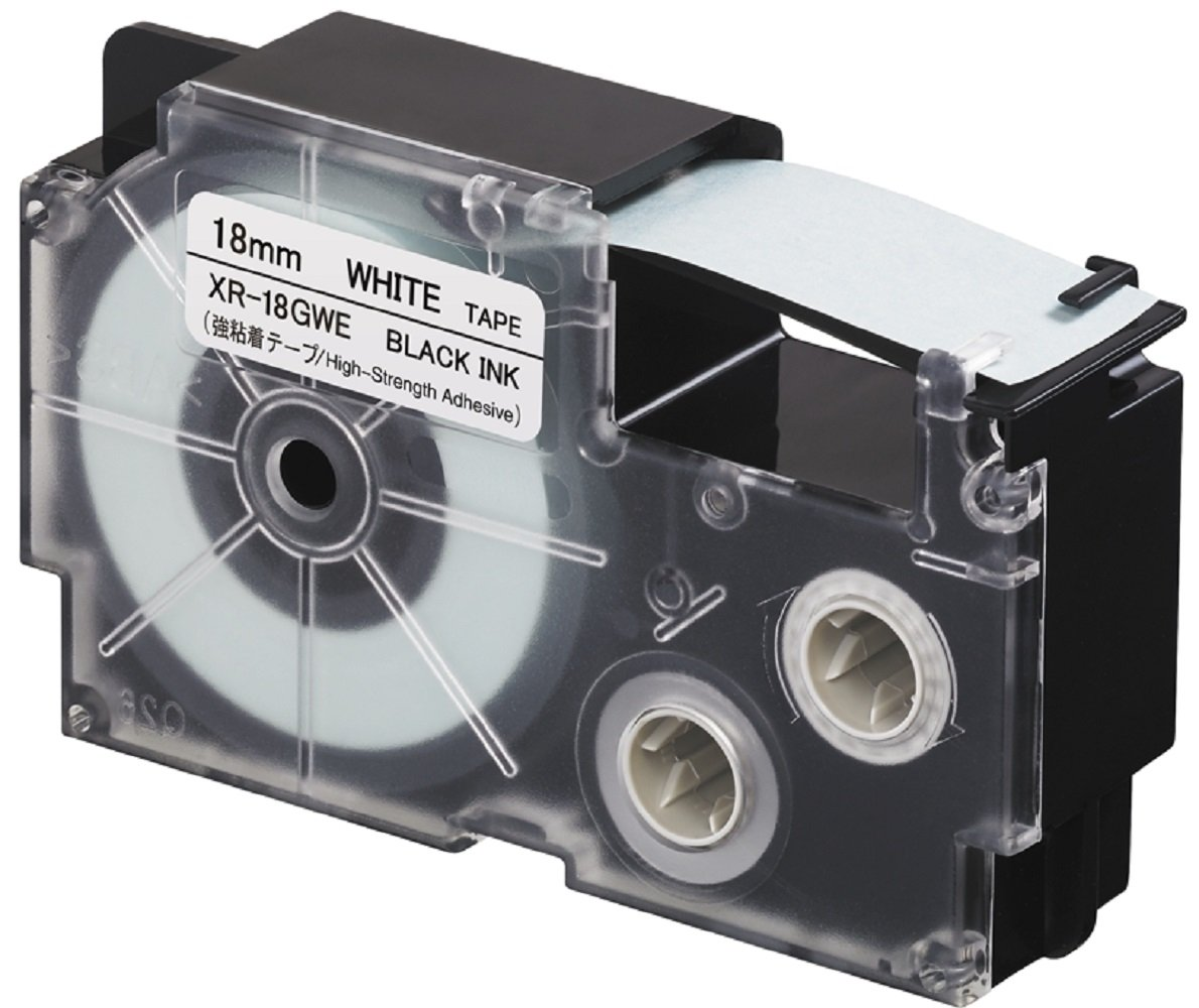 CASIO EZ-Label Printer XR-18GWE Schriftband extra stark selbsthaftend 18 mm x 5,5 m schwarz auf wei/ß