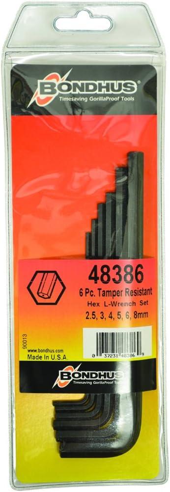 Bondhus Hex Key Set HEX Tamper Resistant HTR6/M Metric Set 6/Pieces 48386