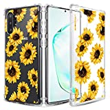 Caka Clear Case for Galaxy Note 10 Plus Floral Clear Case Flower Pattern Girly Slim Anti Scratch Excellent Grip Premium Soft TPU Protective Case for Galaxy Note 10+ 10 Plus 5G (Sunflower)