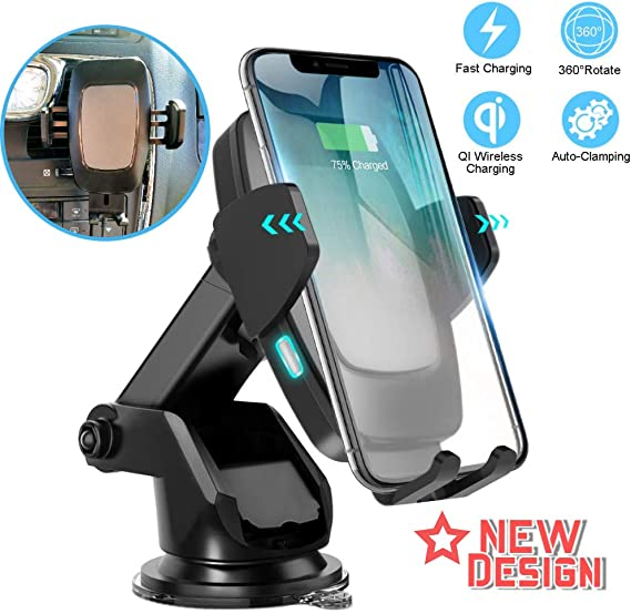 10W//7.5W Fast Charging /& Standard 5W Charger Auto-Clamp Qi Car Mount Windshield Dashboard Air Vent Phone Holder Wireless Car Charger Mount