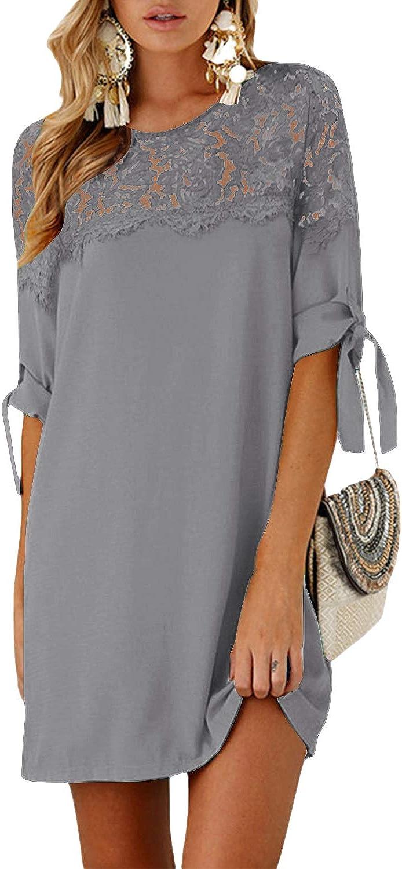 YOINS Damen Kleider Tshirt Kleid Sommerkleid f/ür Damen Rundhals Brautkleid Langarm Minikleid Kleid Langes Shirt Lose Tunika mit Bowknot /Ärmeln