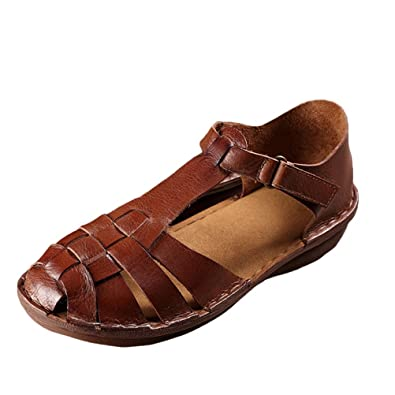 173ce8c55489 Mordenmiss Women s New Leather Strappy Roman Gladiator Sandals Flats Brown  36
