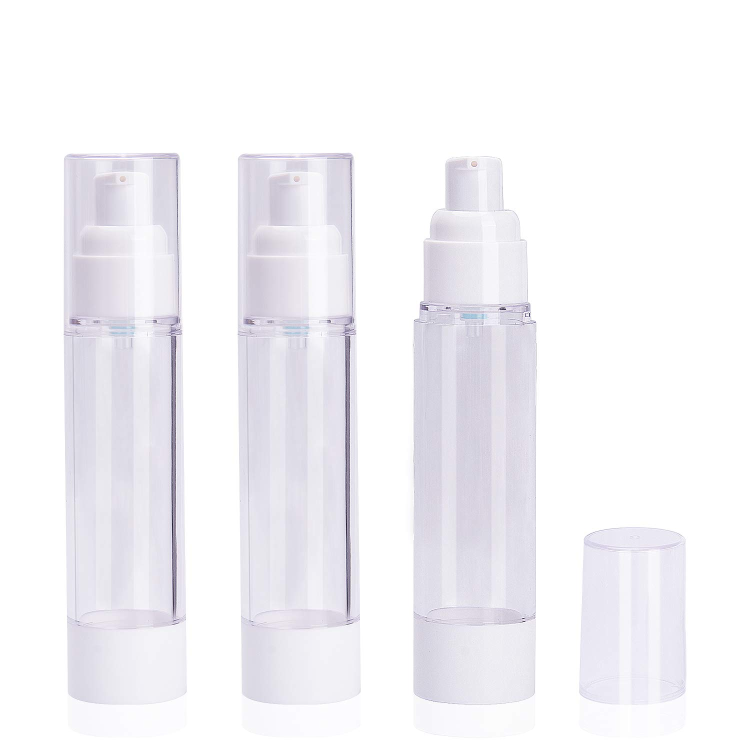 3 Pack 50ml 1.7oz Airless Vacuum Pump Toiletry Travel Bottles, Airtight Makeup Cosmetics Refillable Plastic Dispenser Containers, Leak Proof, TSA Approved, Ideal for Cream Foundation Gel Moisturizers