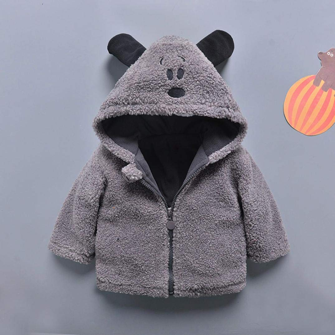 GBSELL Toddler Baby Kids Girls Boy Cartoon Thick Warm Jacket Outfits Clothes Fall Winter (Gray, 6-12 Months) by GBSELL Baby (Image #3)