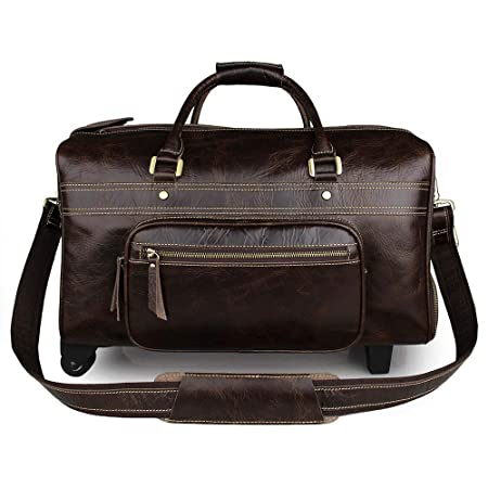 Overnight Travel Holdall Bag Leather Trolley Luggage Men s Business Travel  Travel Large-Capacity Luggage Bag Carry On Luggage Bag (Color   Coffee)  ... 9bf275b064de4