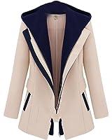 Gnao Women's Slim Fit Double Zipper Pockets Hooded Casual Jacket Woolen Coat