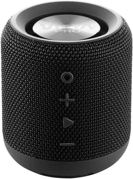 Vieta Pro Easy - Altavoz inalámbrico (True Wireless Bluetooth, Radio FM, Reproductor USB, auxiliar, micrófono integrado, resistencia al agua IPX6, batería de 12 horas) negro