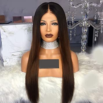 88036d2df Human Hair Wigs Ombre 1B/30 Lace Front Wig Straight Full Lace Wigs Brown  With