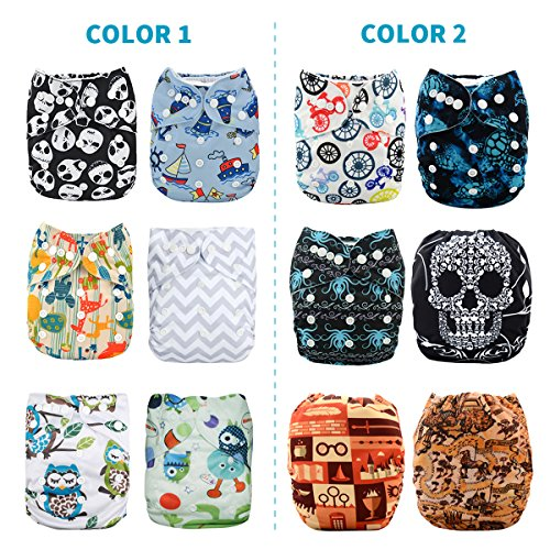 ALVABABY Reuseable Washable Pocket Cloth Diapers 6PCS + 12 Inserts (Send One Color by Random, Gift Sets 6DM21