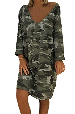 39572f876eb3 Robe Chemise Femme Longueur du Genou Mode Elégante Camouflage Tee Shirt  V-Cou Robes Large