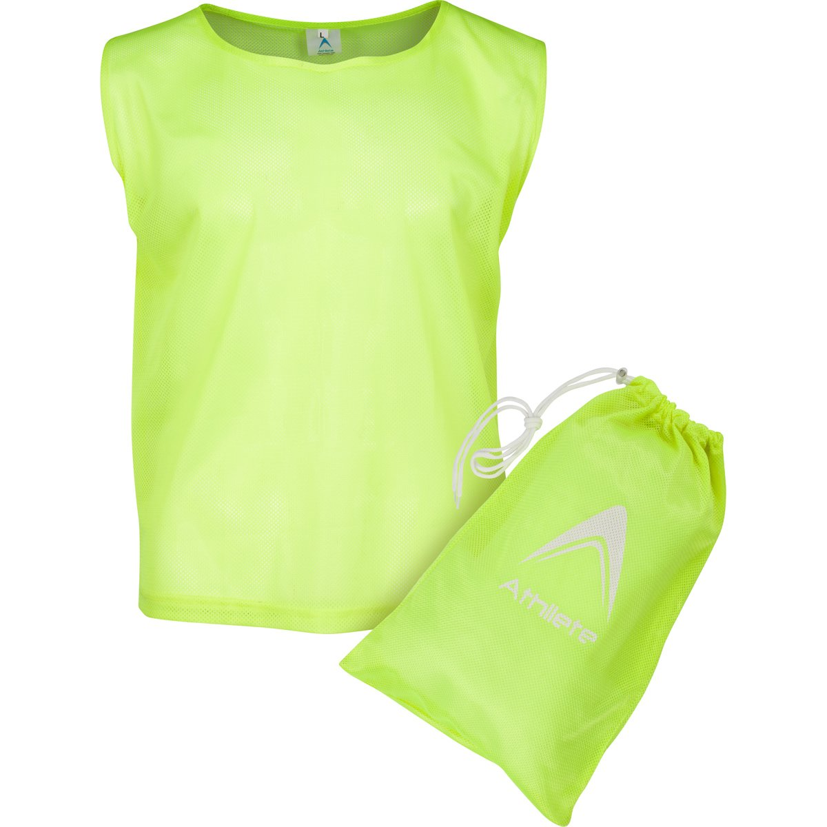 Athllete Set of 12 - Child Scrimmage Vests/Pinnies/Team Practice Jerseys with Free Carry Bag (Neon Yellow, Small) by Athllete