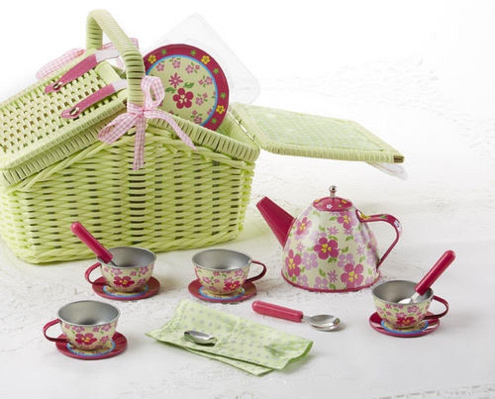 Tin 18pc Tea Set in Basket, Sorrel Delton Products 8001-5