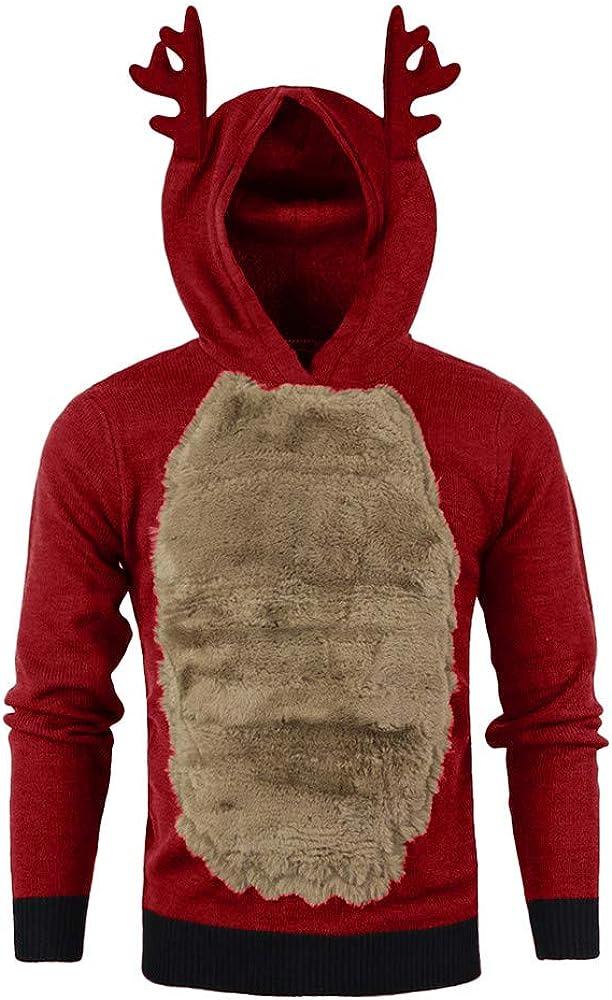 Hunputa Mens Blouse,Men Autumn Winter Xmas Hoody Reindeer Feather Hooded Christmas Fur 3D Blouse Top