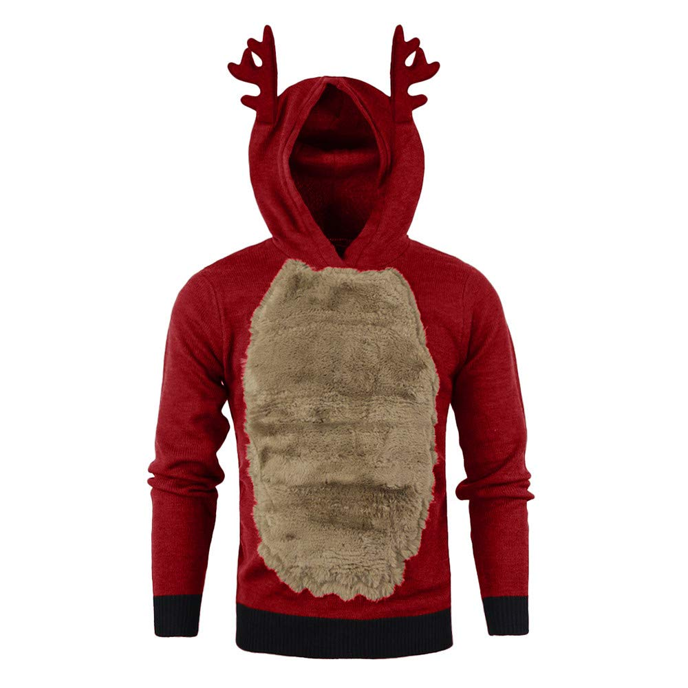 Christmas Mens Hoodies,SSZZoo Male Reindeer Feather Faux Fur 3D Blouse Top Autumn Winter Thick (XXL, Red)