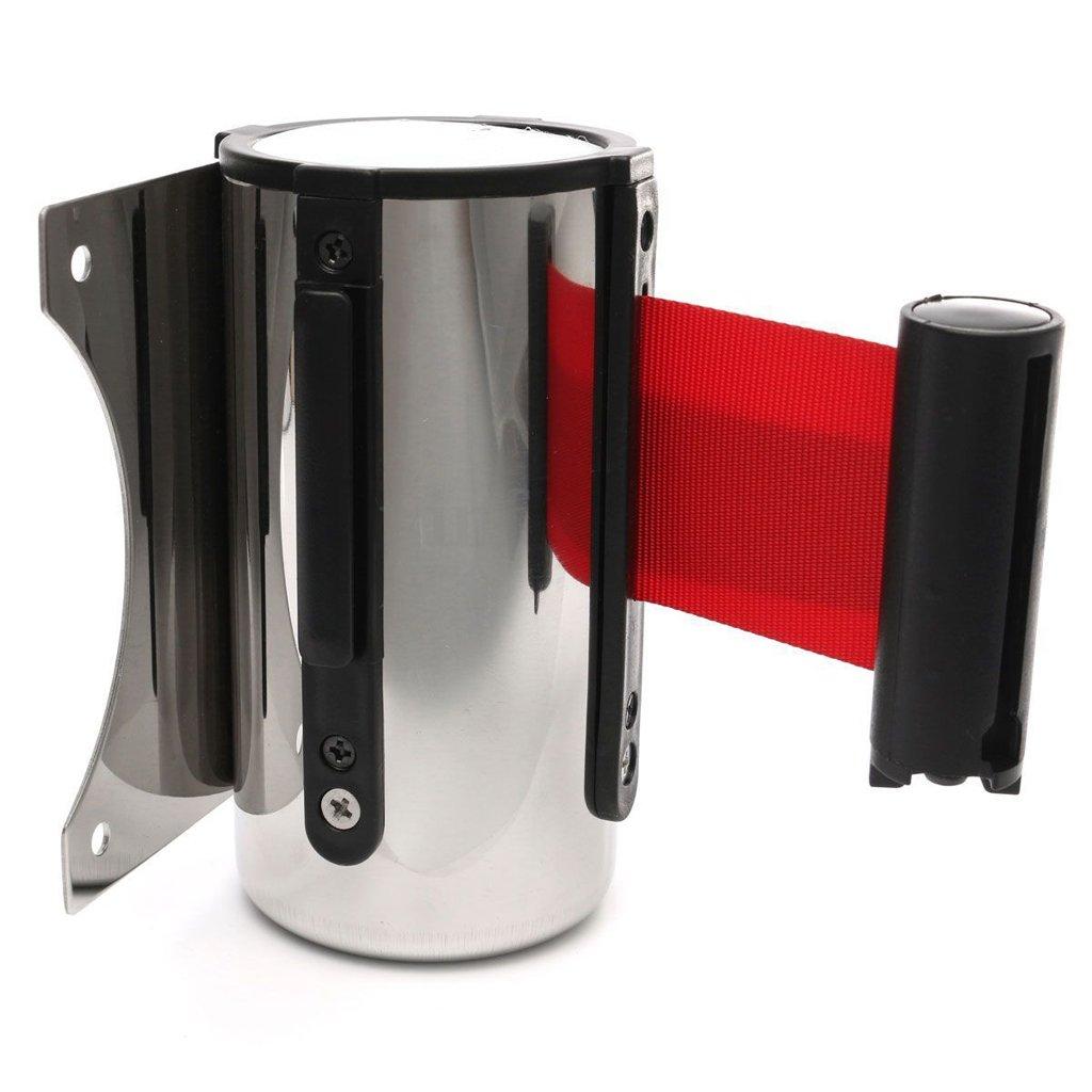 Sharplace Barrera de Cola Montaje en Pared Control de Muchedumbre Cinta Retr/áctil Herramienta Pr/áctica para Aeropuerto Parada de Coche rojo 5 m