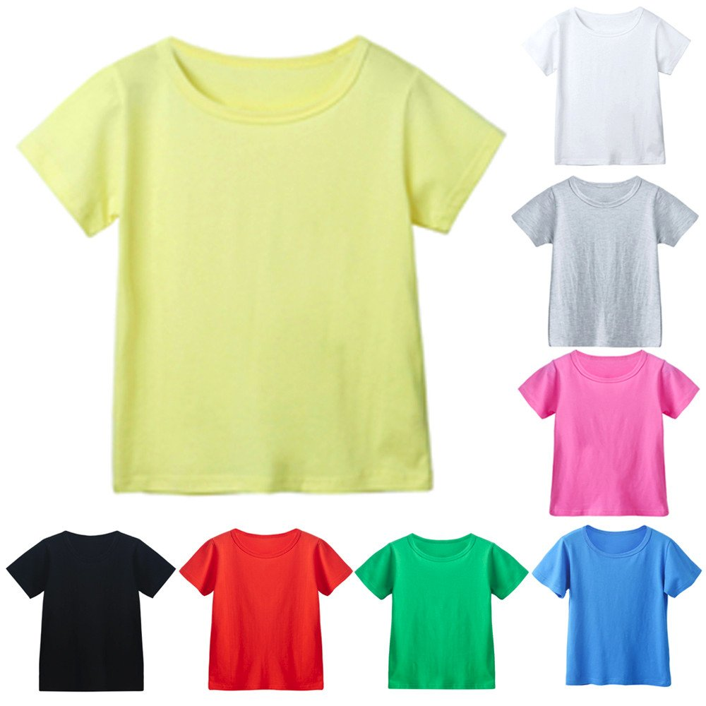 Kids Cheap T Shirts,Boys Solid Candy Color Tee Tops Little Girls T Shirts Pajama Shirts.(Black,120) by Wesracia (Image #1)