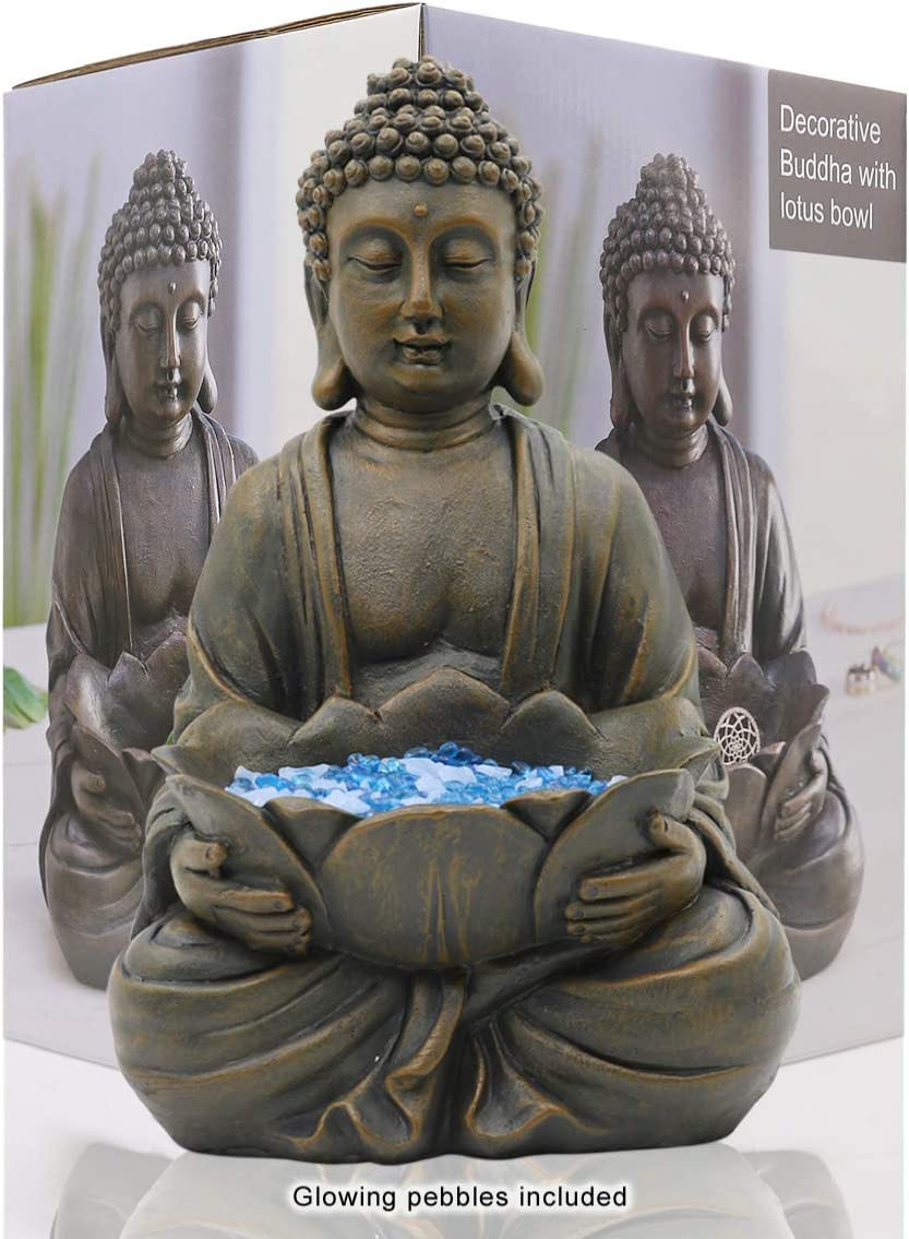 "Meditating Buddha Statue Figurine Sitting Sculpture Decoration 12"" Marble Finish with Lotus and Magical Glow in The Dark Pebbles and Glass Stones, Polyresin, Antique Bronze Look"