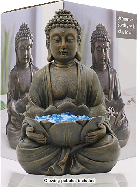 Meditating Buddha Statue Figurine Sitting Sculpture Decoration 12 Marble Finish With Lotus And Magical Glow In The Dark Pebbles And Glass Stones Polyresin Antique Bronze Look Amazon Ca Home Kitchen