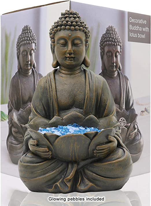 Limeide Goodeco Meditating Buddha Ornament Figurine Zen Garden Buddha Statue Sculpture W Lotus Indoor Outdoor Decor For The Home Yard Decoration With Magical Glow In The Dark Pebbles And Glass Stones Amazon Co Uk Kitchen Home