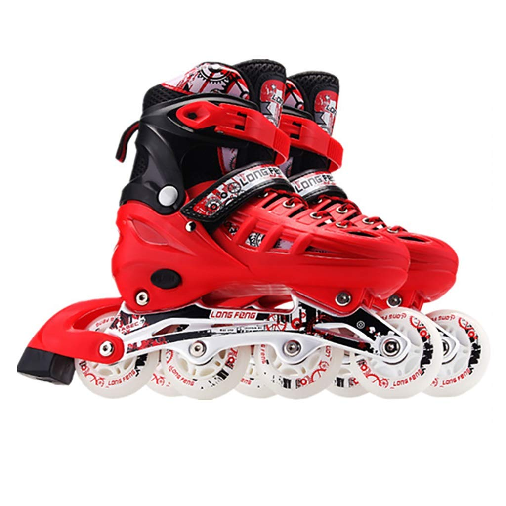 Inline skates Adult Single Flash Kid's Red Adjustable Rollerblades Beginner Sports Outdoor Roller Skates (Color : Red, Size : L(39-42))
