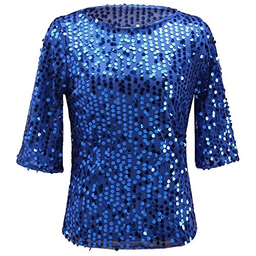 Sequined 3/4 Sleeve Top (Womens Plus Size Shimmer Glam Glitter Sequined Tank Top Shirts Blouses S Blue)