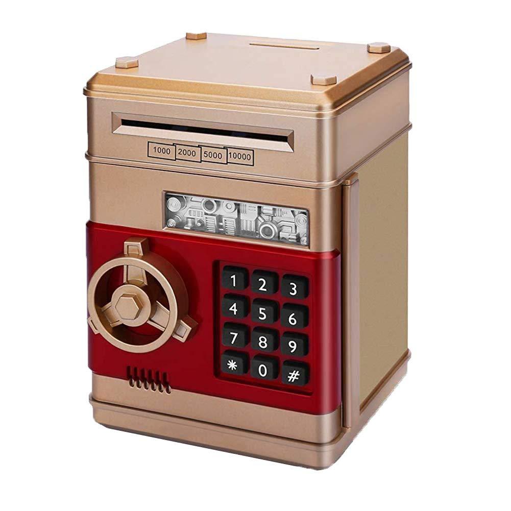 Naisidier Creative Password Piggy Bank Children Cartoon Automatic Roll Money ATM Machine Shape Deposit Box Smart Storage Jar for Boy Girl Golden by Naisidier