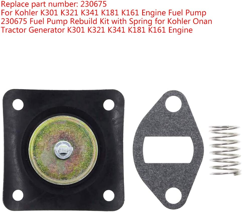 230675 Fuel Pump Rebuild Kit with Spring for Kohler Onan Tractor ...