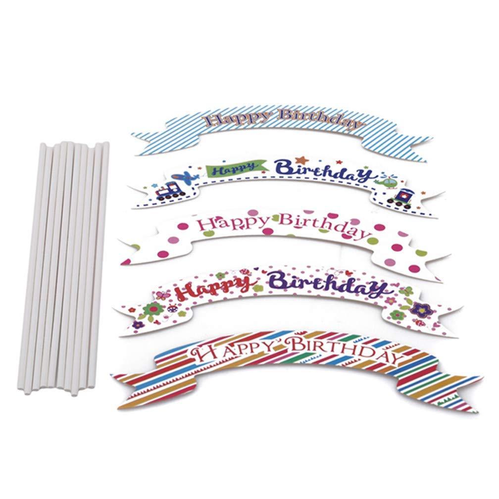 Xeminor Premium Quality 5Pcs Cake Topper Happy Birthday Decorations Wedding Party Multicolour Cupcake Decoration