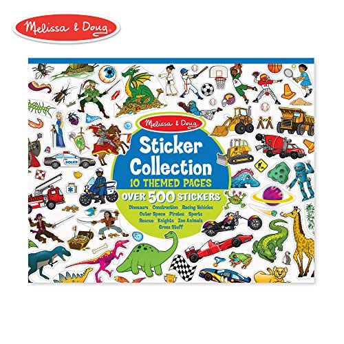 Melissa & Doug Sticker Collection Book, Arts & Crafts, Dinosaurs, Vehicles, Space, and More (500+ Stickers) -