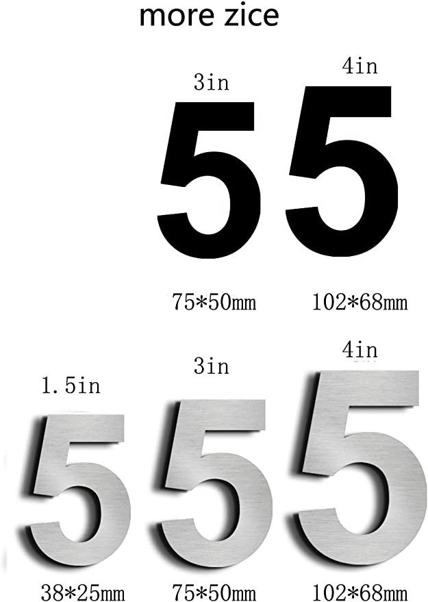 Geb/ürsteter Edelstahl nanly Moderne Hausnummer aus massivem hergestellt 304-GRO/ß 10.2cm//4 Zoll Schwimmendes Aussehen,Paste(3)