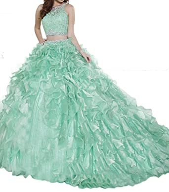 69b222d078 Ruolai Two Pieces Quinceanera Dress Detachable Skirt Beaded Organza Prom  Dress Ball Gowns at Amazon Women s Clothing store