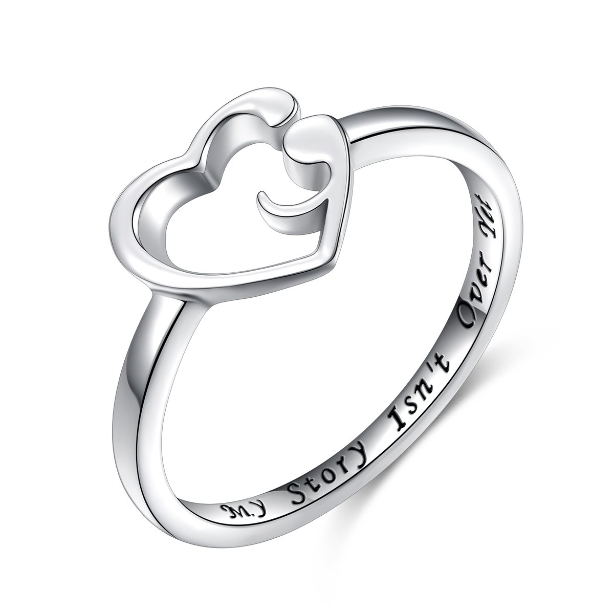 Inspirational Jewelry S925 Sterling Silver My Story Isn't Over Yet Semicolon Ring Size 7