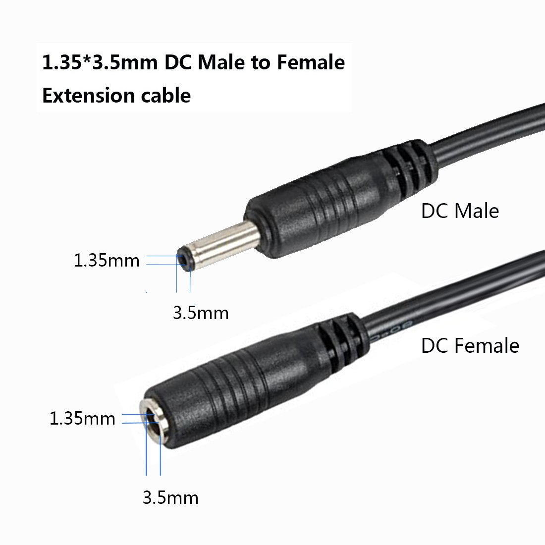Liwinting 10m DC Power Extension Cable 1.35mm // 3.5mm Male to Female Jack DC Power Cord Extension Cable for Cameras Parking Reverse Camera Power Adapter Black Wireless IP Camera