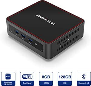 U500-H Mini PC Intel Core i3-5005U Windows 10 Mini PC Desktop Computer, Expandable RAM 8GB DDR3L +128GB SSD, HDMI/Mini DP/USB-C 4K@60Hz Salida, 2 x Ethernet, 3 x USB 3.0,Support Chromium & Linux OS