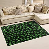WOZO Green Cannabis Marijuana Leaves Black Area Rug Rugs Non-Slip Floor Mat Doormats for Living Room Bedroom 60 x 39 inches Review