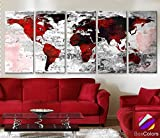 Original by BoxColors XLARGE 30''x 70'' 5 Panels 30''x14'' Ea Art Canvas Print Watercolor Texture Map Old brick Wall color red black white decor Home interior (framed 1.5'' depth)