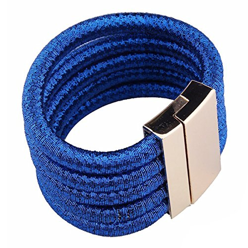 Bracelet Rope Fancy (Fancy Love New Punk Wide Stretch Rope Gold Maxi Colar Chocker Necklace (Blue Bracelet))