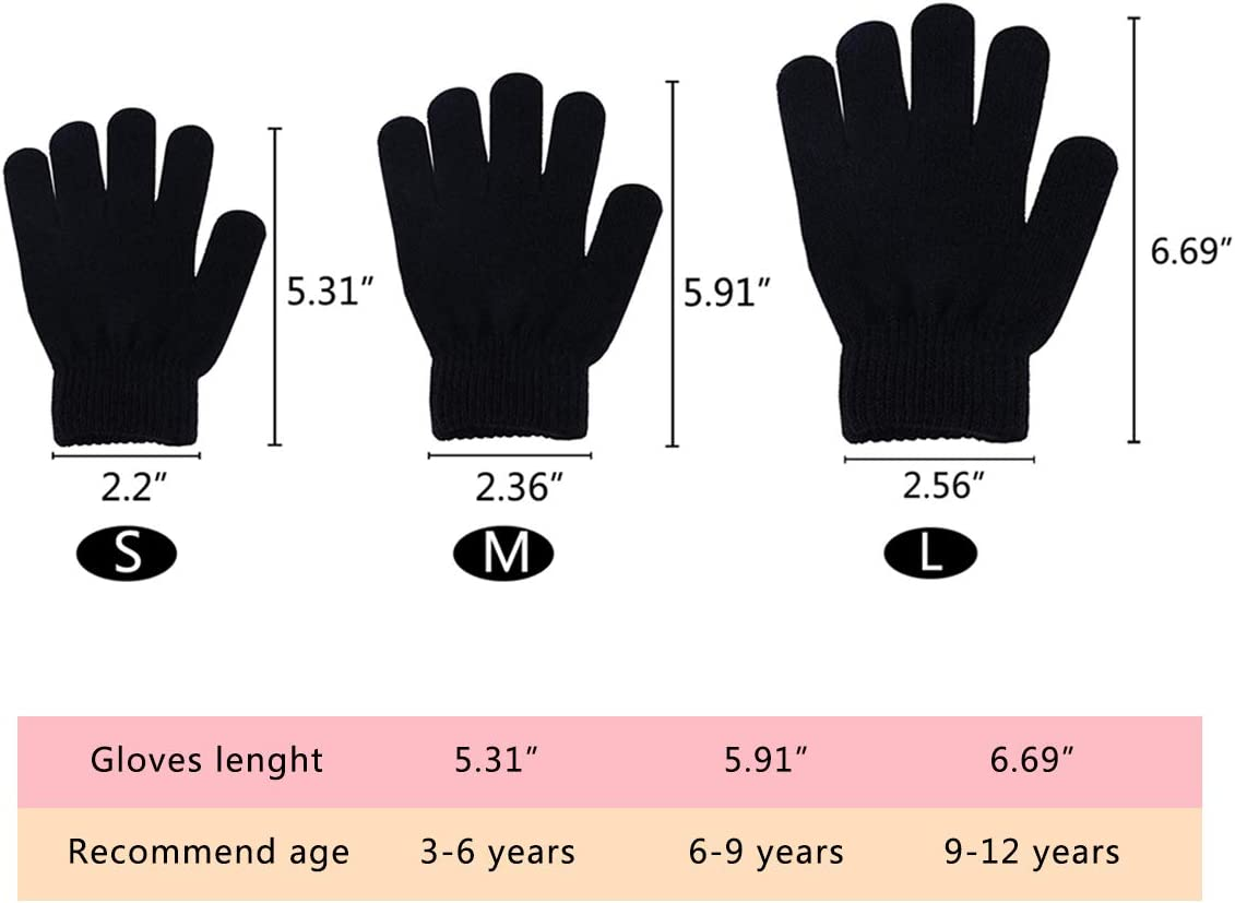 style C, 9-12 year WEWINK PLUS Kids Gloves 16 Pairs Winter Magic Gloves Stretchy Full Finger Boys or Girls Knit Gloves