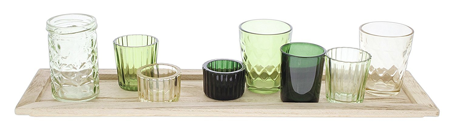 Sullivans Bundle of 8 Assorted Green Glass Jars with Wood Tray