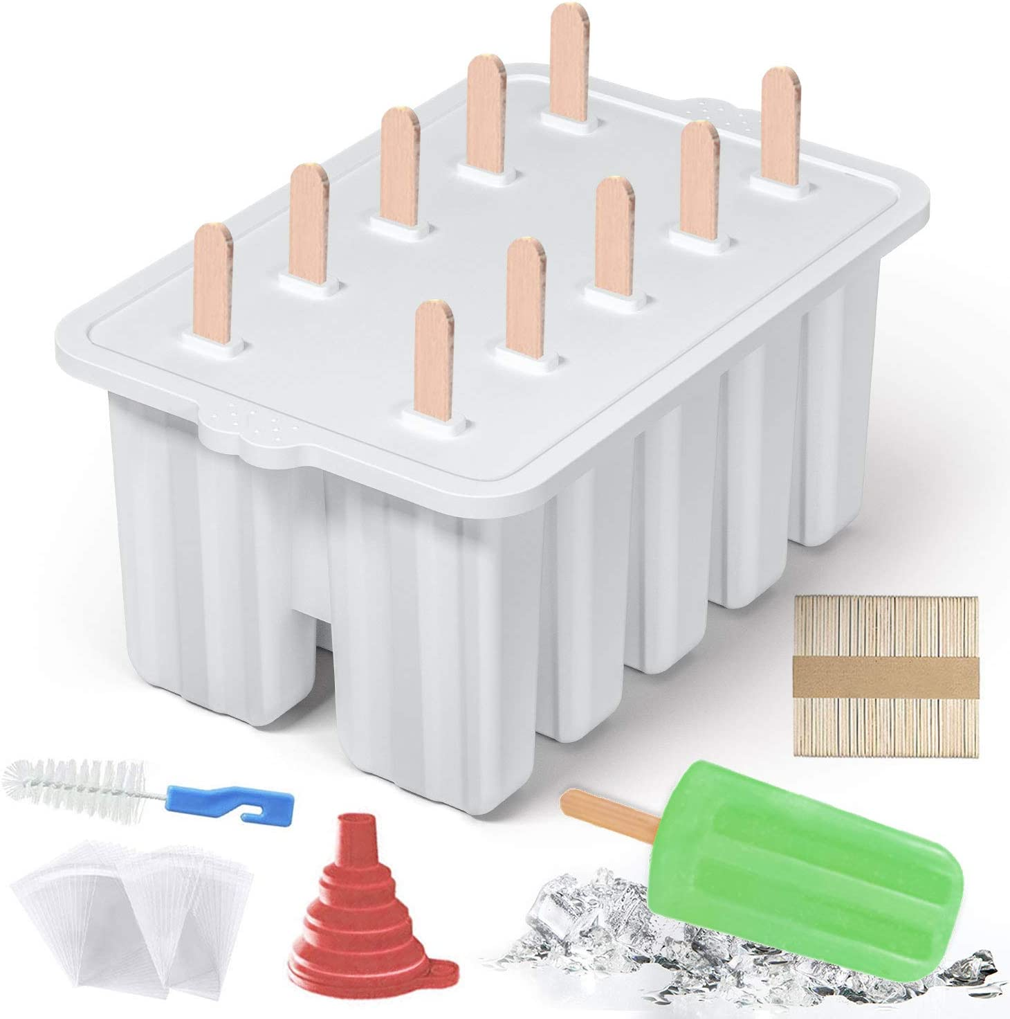 10 Cavities Homemade Popsicle Molds Set , Food Grade Silicone Frozen Ice Popsicle Maker-BPA Free, Contain 50 Popsicle Sticks, 50 Popsicle Bags Popsicle Mold Silicone Popcycle Mold(White)